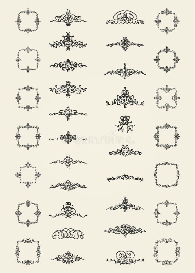 Le rétro ornement de rosette et de victorian pour la décoration textotent illustration libre de droits