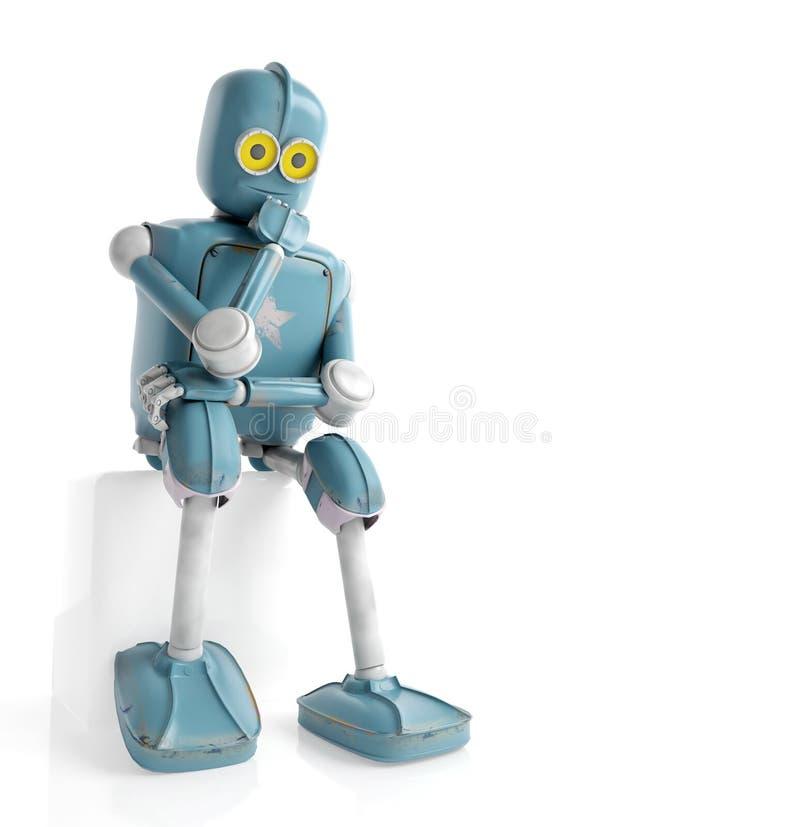 Le rétro robot pense se reposer sur le cube, intelligence artificielle, illustration de vecteur