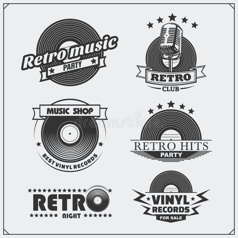 Le rétro studio de musique symbolise, des labels, des insignes et des éléments de conception illustration stock