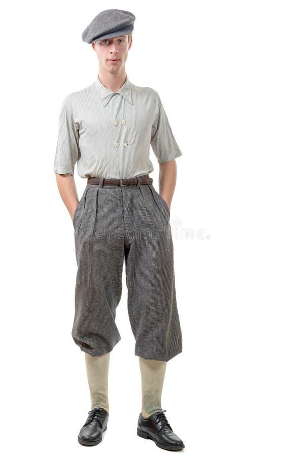 Le rétro style de jeune homme, 40, vintage vêtx images libres de droits