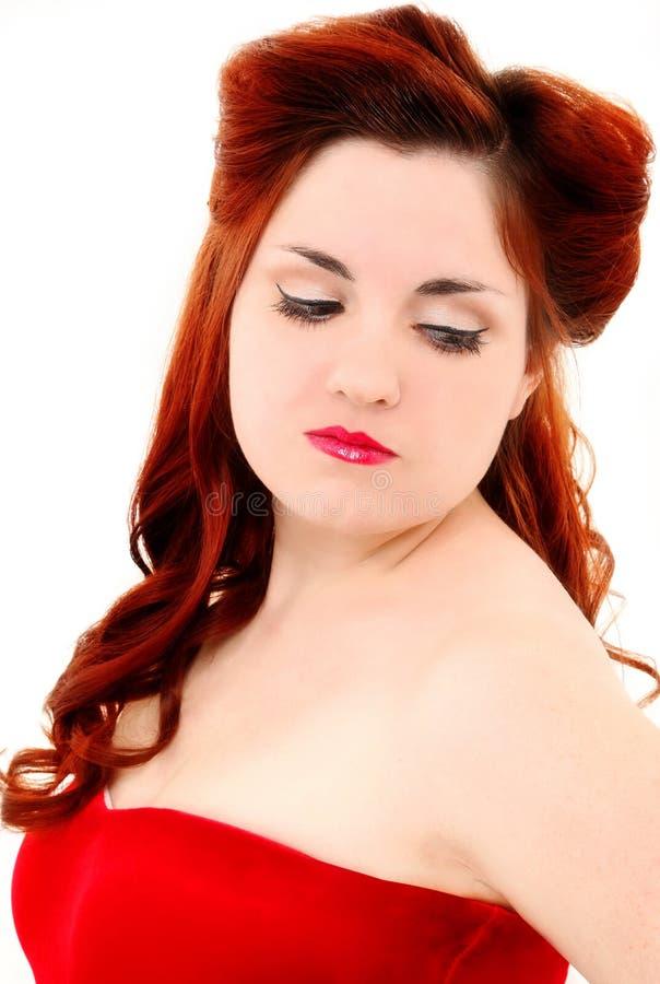 Le rétro type de cheveu de cru demi d'Updo et composent photographie stock libre de droits