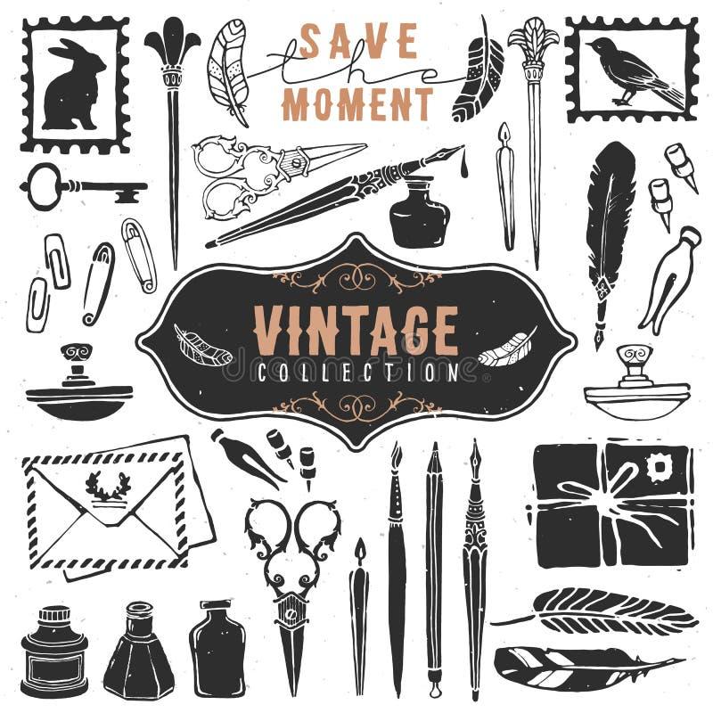 Le rétro vieil auteur de choses de vintage a ouvré la collection illustration de vecteur