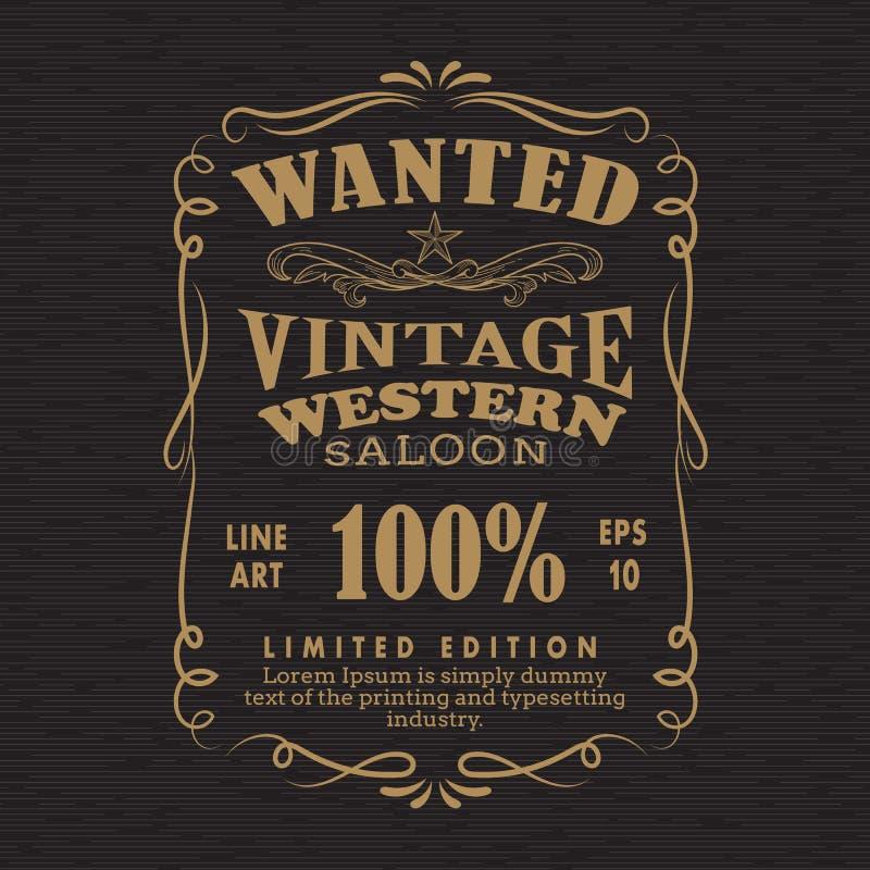 Le rétro vintage de vue de tableau noir tiré par la main de label a voulu la bannière illustration stock
