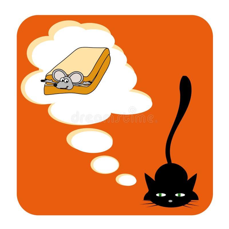 Le rêve du chat illustration libre de droits