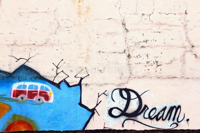 Le rêve Le ressort conduit l'hiver Fond de graffiti d'art de Wall Street illustration de vecteur