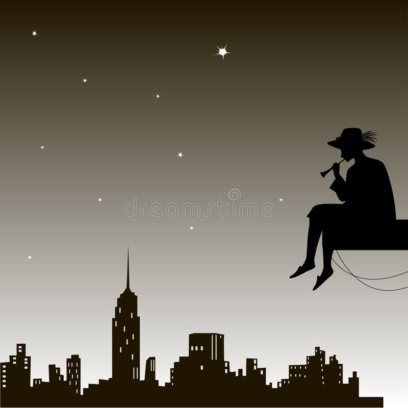 Le rêveur s'assied et la trompette de jeu sous le ciel de ville de nuit, berceuse de ville, au-dessus de la ville, illustration de vecteur
