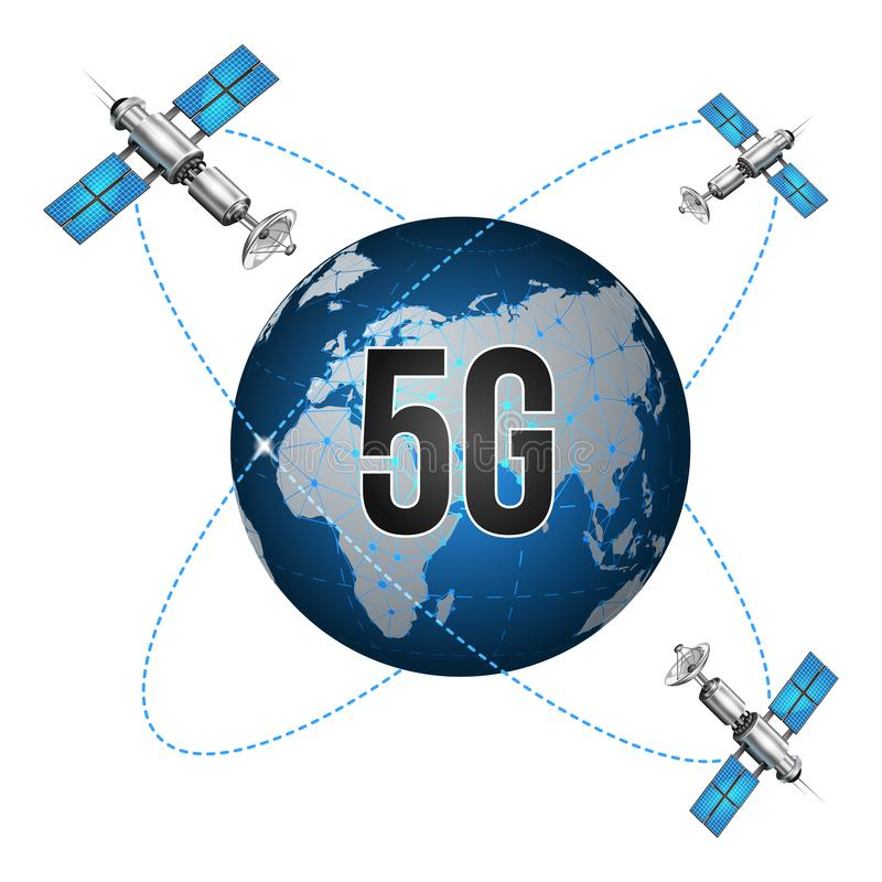 le r?seau 5g relie des satellites autour de la terre Le Web global de concept de r?sum? se relient et des communications Vecteur  illustration de vecteur