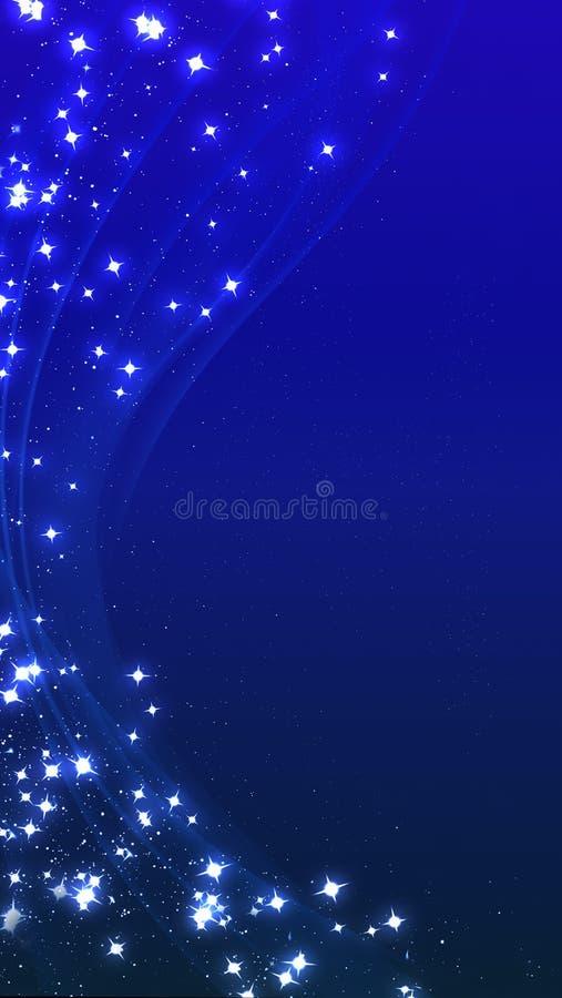 Le r?sum? ondule le fond avec des lignes et des ?toiles Illustration verticale dans des couleurs bleues illustration stock