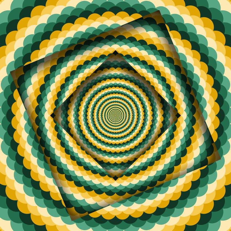 Le r?sum? a tourn? des cadres avec un profil onduleux jaune vert tournant Fond hypnotique d'illusion optique illustration de vecteur