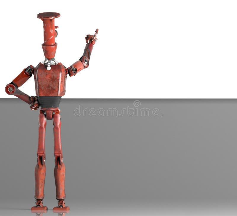 Le r?tro vitage de robot jette un coup d'oeil par derri?re la banni?re de murs illustration de vecteur