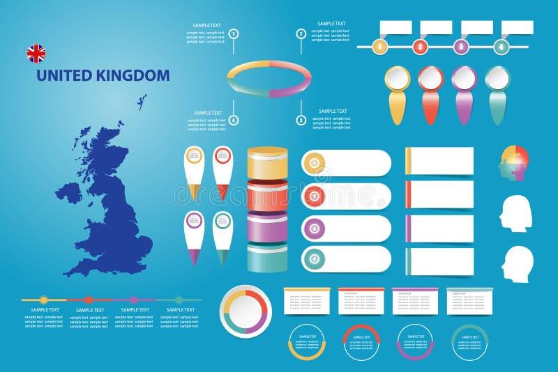 Le R-U infographic pour présentations économiques, démographiques et autres illustration stock