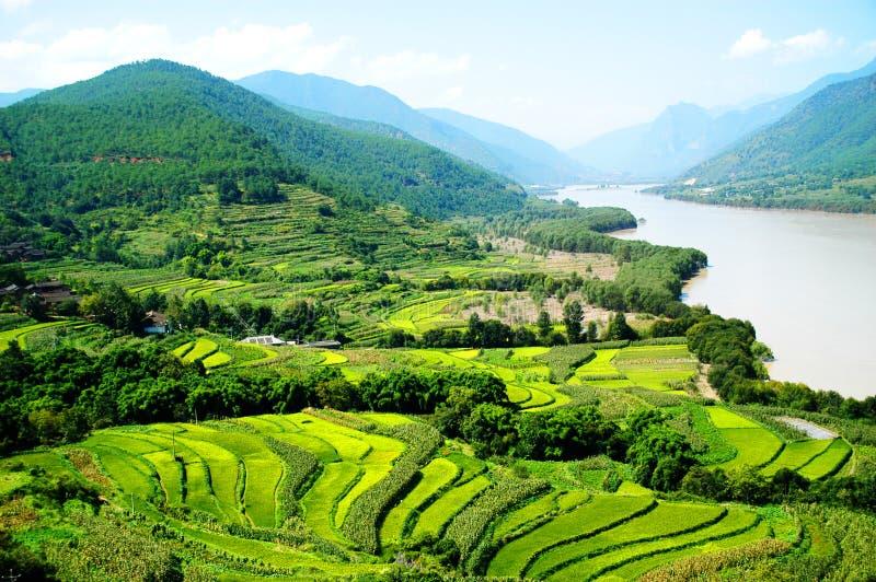 Le ?r virage du fleuve de Yang Tsé Kiang photographie stock libre de droits