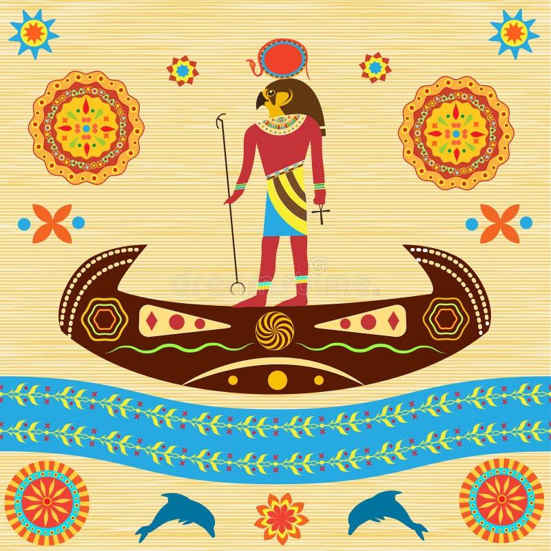 Le Ra égyptien antique d'un dieu flotte sur un bateau avec les modèles et l'ornam illustration stock