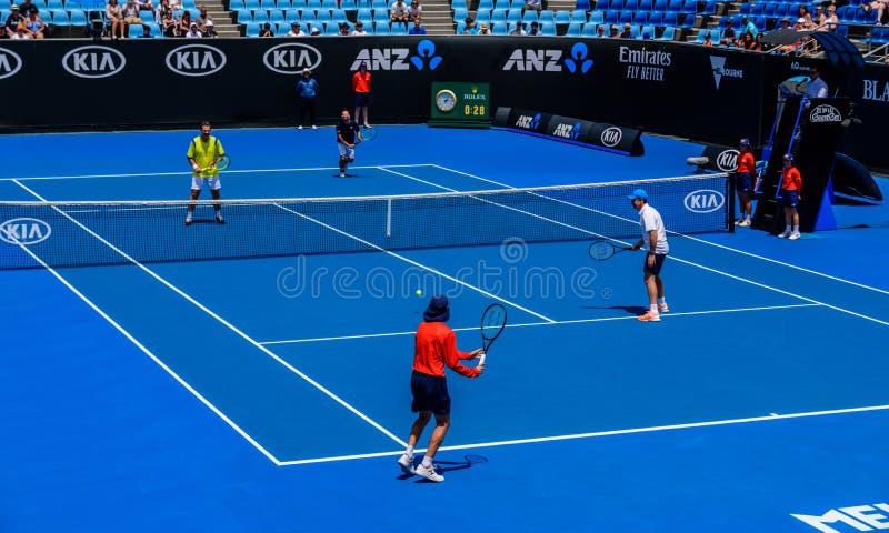 Le raccattapalle stanno giocando all'Australian Open fotografia stock libera da diritti