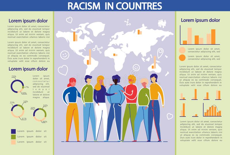Le racisme et la discrimination dans les pays Infographie illustration de vecteur