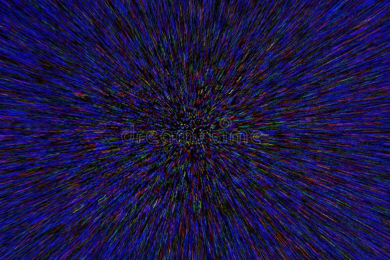 Le radial naturel d'explosion de bourdonnement de lentille a brouillé les points vert-bleu rouges sur le fond noir photos libres de droits