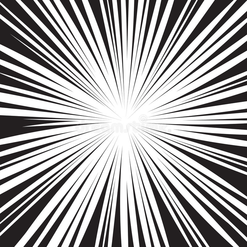 Le radial noir et blanc de bande dessinée raye le fond illustration libre de droits