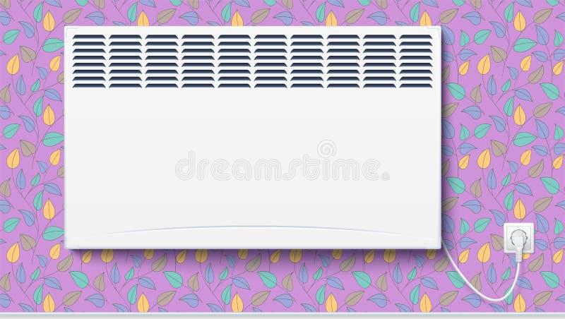 Le radiateur électrique domestique, le convecteur à la maison a branché la corde avec la prise à l'électricité illustration de vecteur