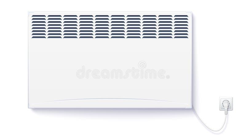 Le radiateur électrique domestique, le convecteur à la maison a branché la corde avec la prise à l'électricité Panneau électrique illustration stock
