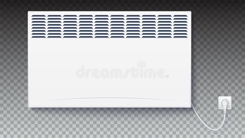 Le radiateur électrique domestique, icône du convecteur à la maison a branché la corde avec la prise à l'électricité Panneau élec illustration libre de droits