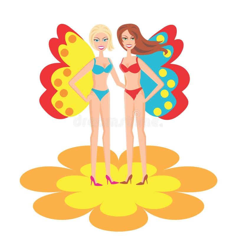 Le ragazze in costume da bagno illustrazione di stock - Ragazze spiate in bagno ...