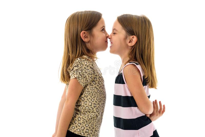 Le ragazze dei gemelli monozigoti stanno esaminando reciprocamente e sorridere immagini stock libere da diritti