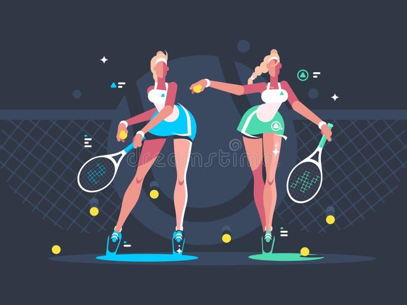 Le ragazze giocano a tennis sulla corte illustrazione di stock