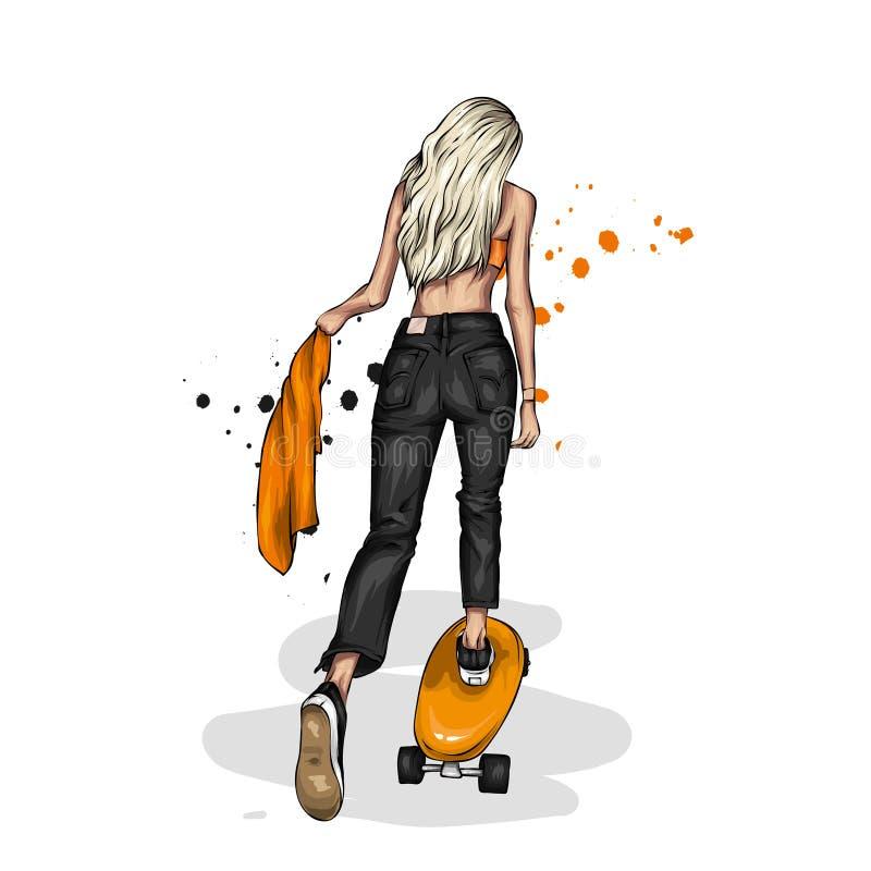 Le ragazze graziose in completa e mette con il pattino Vector l'illustrazione per una cartolina o un manifesto Disegno luminoso e fotografie stock