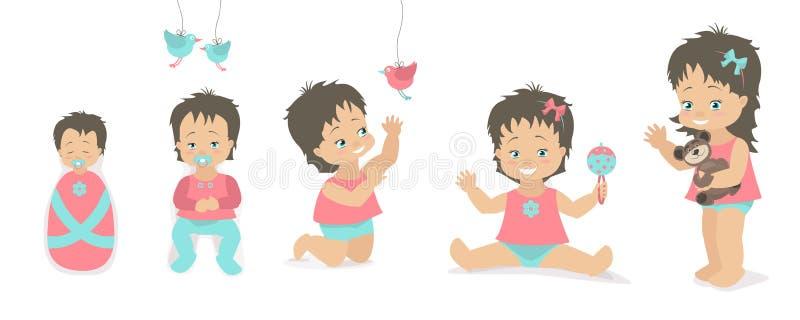 Le ragazze hanno fissato le età diverse dalla nascita a cinque anni Illust di vettore illustrazione di stock