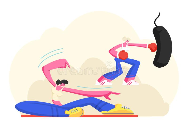 Le ragazze negli sport indossano l'addestramento nella palestra, caratteri femminili che allungano il corpo sulla classe di Pilat royalty illustrazione gratis