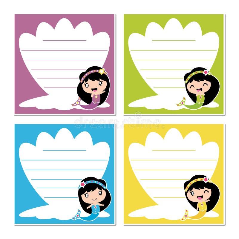 Le ragazze sveglie della sirena sull'illustrazione variopinta del fumetto della struttura della conchiglia per la carta dell'appu illustrazione vettoriale