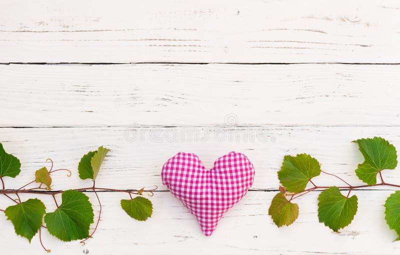 Le raisin ou la vigne vert laisse la frontière avec le coeur sur le fond en bois blanc de table avec l'espace de copie photo stock