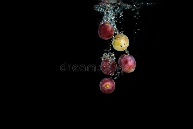 Le raisin rouge frais dans l'eau avec des bulles d'air arrosent l'éclaboussure photos stock