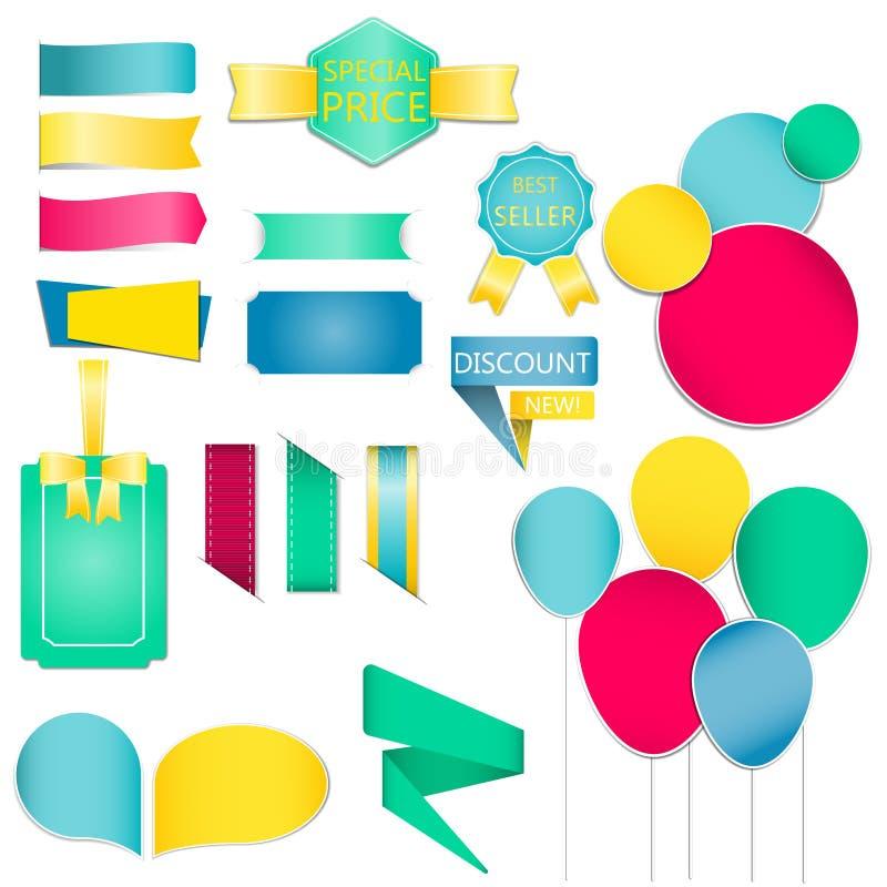 Le ramassage des bulles et du dialogue colorés de la parole monte en ballon Vecteur de ruban et de labels/illustration illustration de vecteur