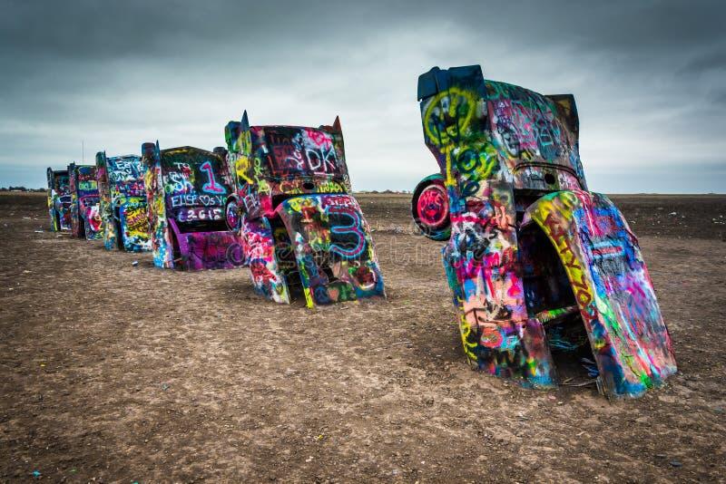 Le ranch de Cadillac, le long de Route 66 historique à Amarillo, le Texas image libre de droits