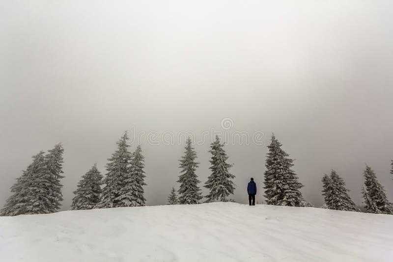Le randonneur d'homme se tenant dans apprécier de montagnes couvert par neige d'hiver luttent photos stock