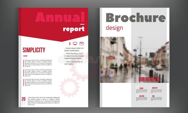 Le rapport annuel rouge, le vecteur de calibre de conception de couverture de brochure, présentation de couverture de tract avec  illustration stock