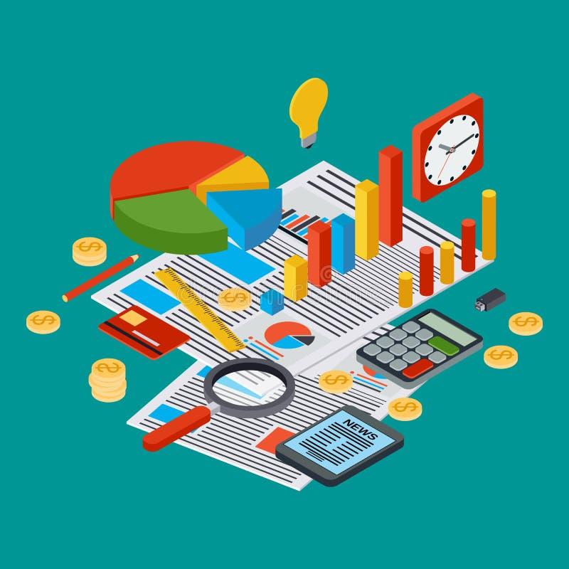 Le rapport de gestion, statistique financière, gestion, analytics dirigent le concept illustration libre de droits
