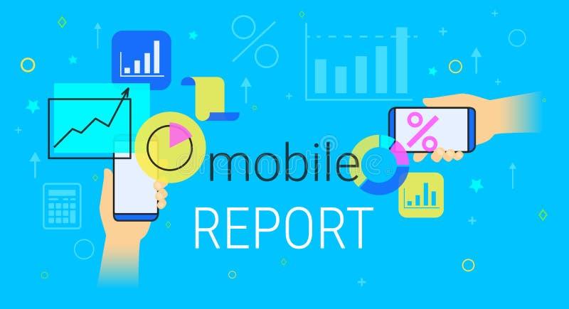 Le rapport et la comptabilité mobiles sur le concept créatif de smartphone dirigent l'illustration illustration libre de droits