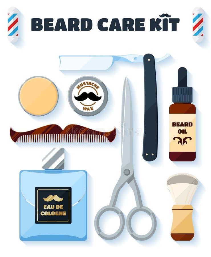 Le rasage des outils et des accessoires a placé pour des hippies avec l'ombre molle illustration stock