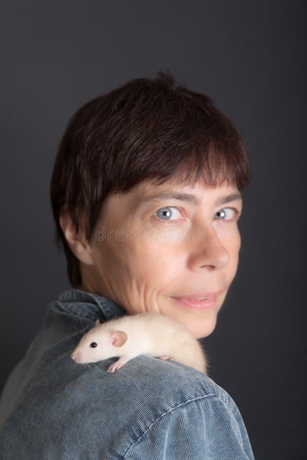 Le rat de bébé se repose sur l'épaule images stock