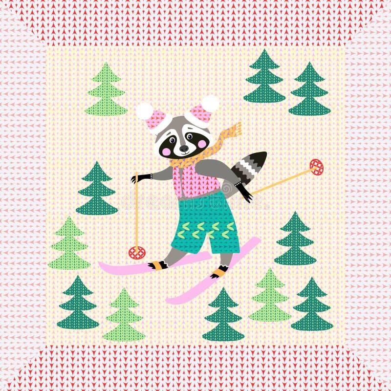 Le raton laveur mignon de bande dessinée sur le ski pendant l'hiver de forêt a tricoté le modèle avec le cadre peu commun illustration stock