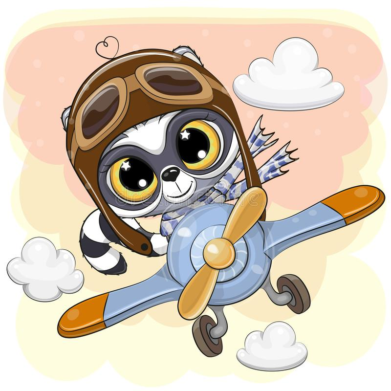 Le raton laveur mignon vole sur un avion illustration stock