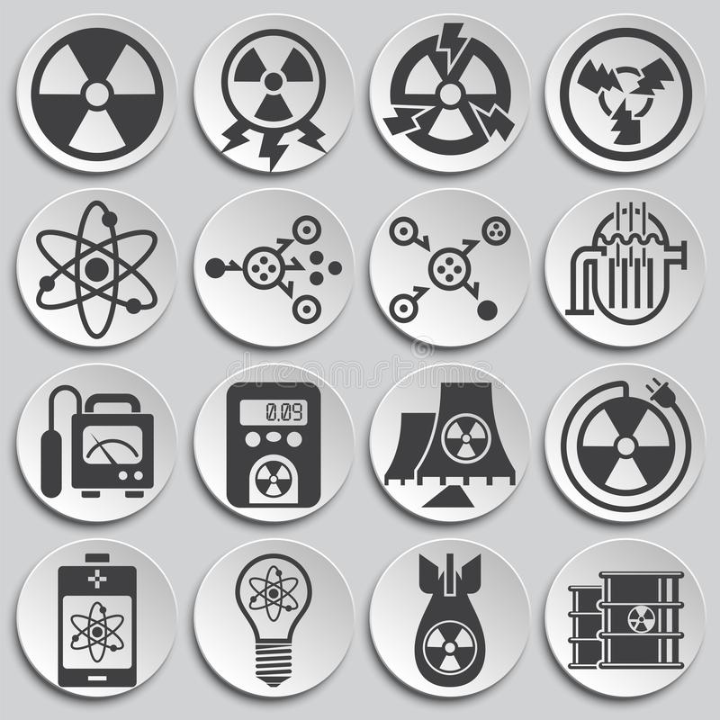 Le rayonnement a rapporté des icônes réglées sur le fond pour le graphique et la conception web Illustration simple Symbole de co illustration de vecteur