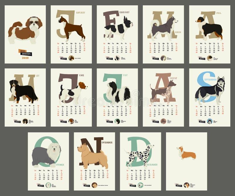 Le razze del cane del calendario 2020 illustrazione di stock