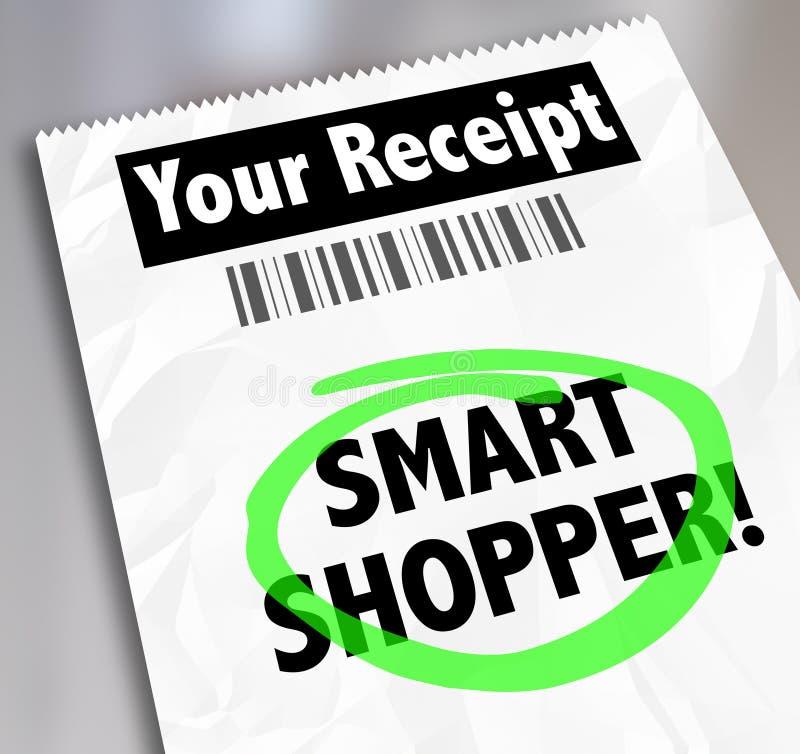 Le reçu futé de magasin de client exprime cerclé dépensant l'argent sagement illustration libre de droits