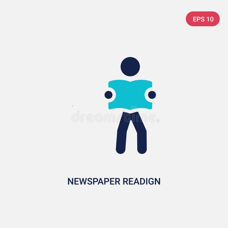 le readign de journal de deux couleurs dirigent l'icône de l'activité et du concept de passe-temps le symbole bleu d'isolement de illustration stock