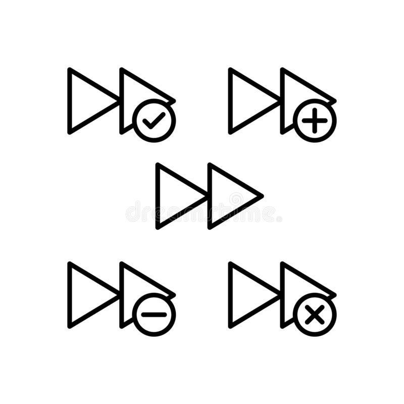 le rebobinage, plus, enlèvent, minus, icônes de signe de contrôle Élément des icônes de bouton d'ensemble Ligne mince icône pour  illustration libre de droits