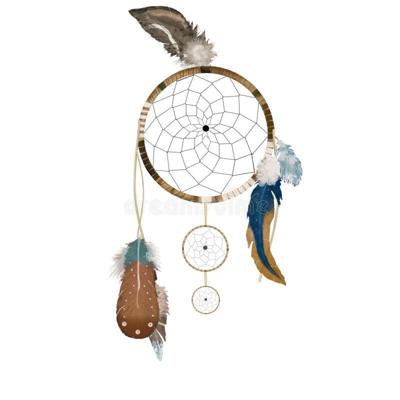 Le receveur rêveur avec les plumes et la partie tribale de boho de dessin d'illutration numérique d'art de rouge bleu de ruban im illustration stock