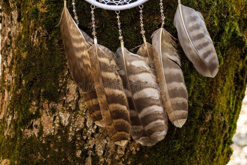 Le receveur rêveur fait main avec des fils de plumes et les perles rope accrocher photographie stock